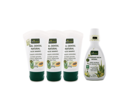 Kit de Tratamento Bucal de Aloe Vera com 3 Géis Dentais 60g mais Enxaguante Bucal Livealoe 250ml