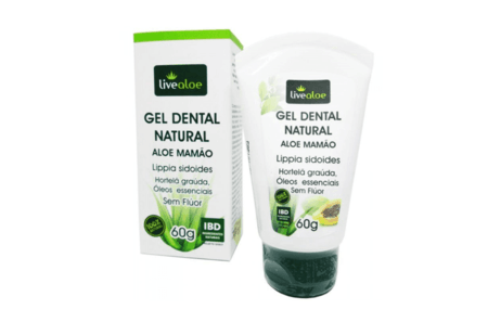 Gel Dental Natural Aloe Mamão LiveAloe  60g