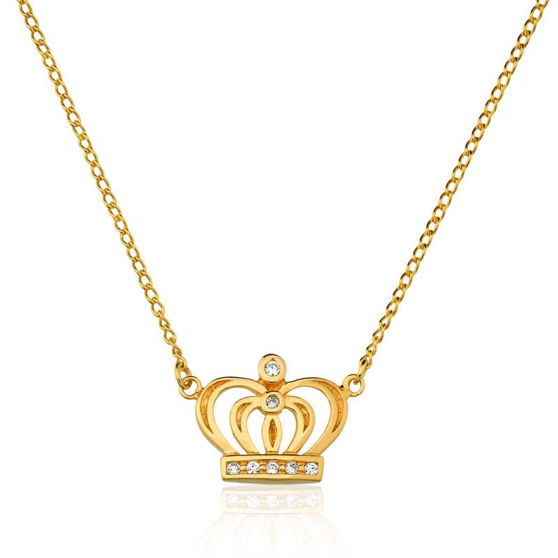 5621d96142 Colar infantil semijoia fina coroa de princesa folheado ouro 18k