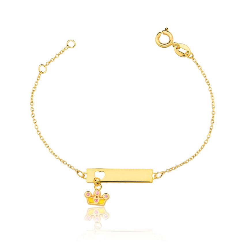 96006864f0621 Pulseira BABY plaquinha coroa banhado ouro 18k. PrevNext