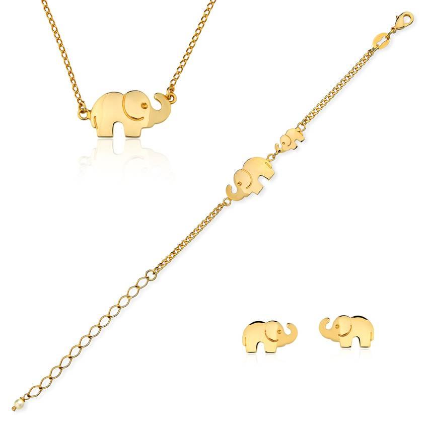 3cbc67ab6073f Conjunto infantil semijoia brinco pulseira e colar elefantinho