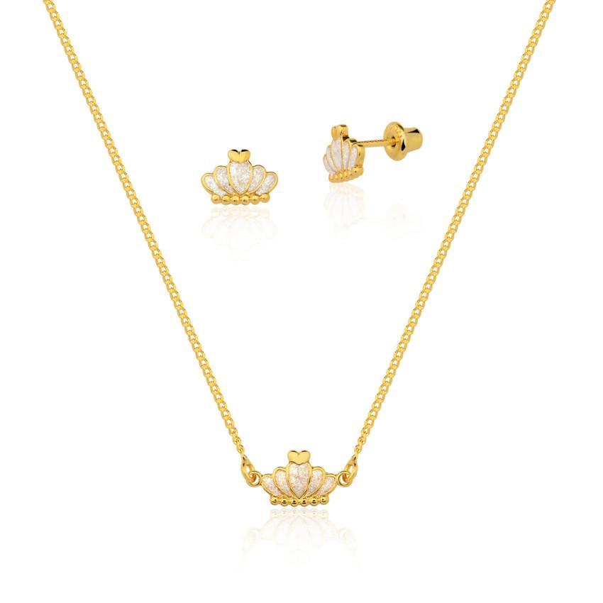 ed1c95b9d1 Kit Infantil Colar e Brincos Coroa banho ouro 18k. PrevNext