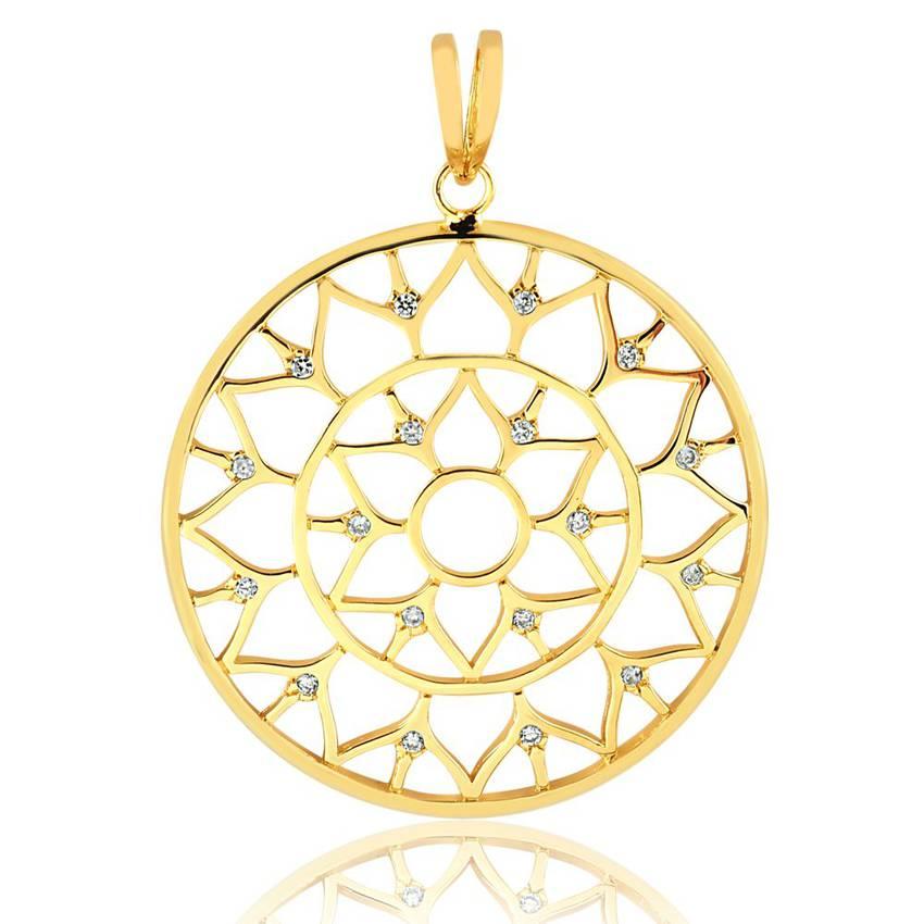 991fe737aeea2 ... Pingente semijoia mandala ponto de luz zircônias folheado ouro 18k.  PrevNext