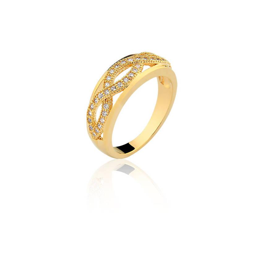 e1c35daab8435 Anel semijoia fina aparador de aliança infinito duplo banho ouro 18k - Aro  19