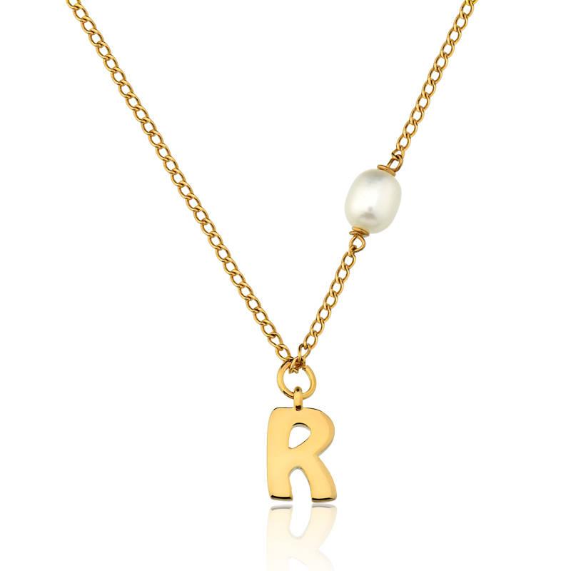 159e9b6a28 Colar infantil semijoia fina escolha a letra do nome e pérola ouro ...