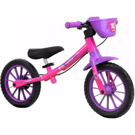 b42d09860 Bicicleta Nathor Balance Feminina Infantil Violeta Rosa