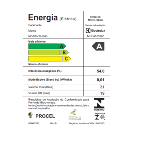 1b9f434c1 Micro-ondas Electrolux 31L MEP41 Ponto Certo Branco