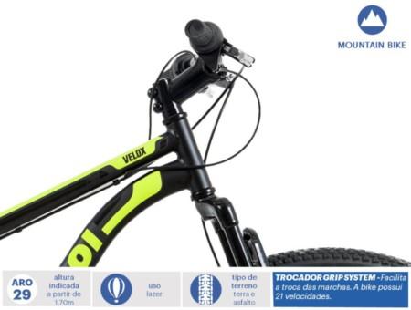 f6247a357 Bicicleta Velox Caloi Aro 29 Freio a Disco Suspensão Dianteira 21 ...